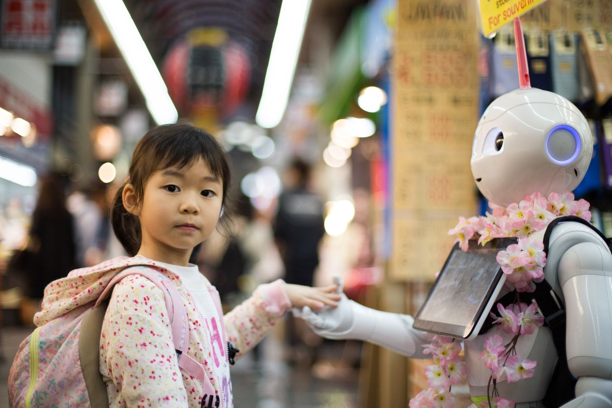 Child with Robot for Women in Tech