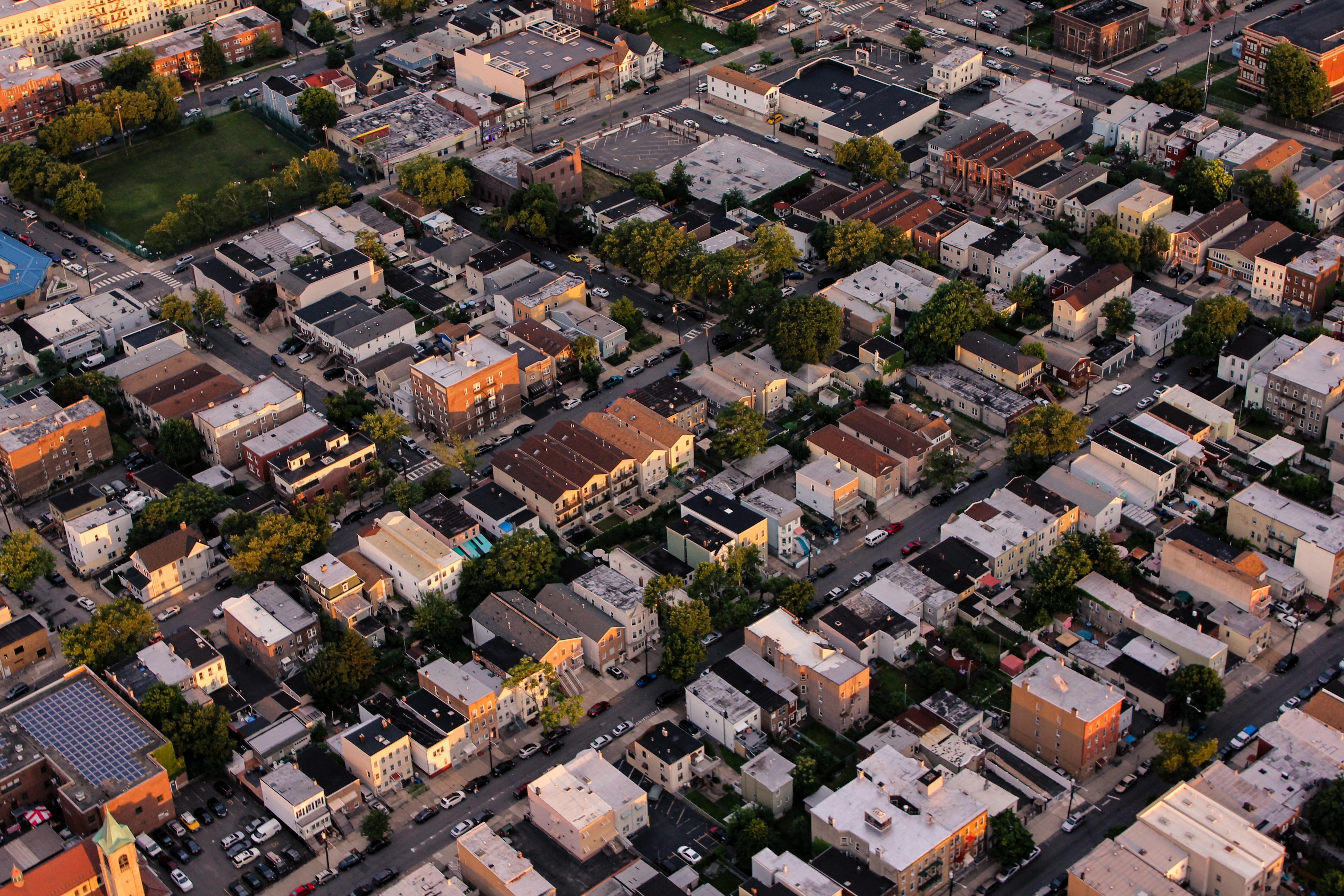birds eye aerial view of houses